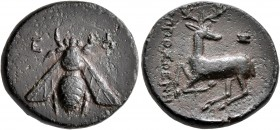 IONIA. Ephesos. Circa 390-320/00 BC. AE (Bronze, 20 mm, 6.00 g, 12 h), Hipposthenes, magistrate. E-Φ Bee. Rev. ΙΠΠΟΣΘΕΝΗ[Σ] Stag kneeling left, head t...