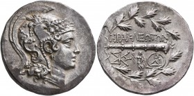 IONIA. Herakleia ad Latmon. Circa 140-135 BC. Tetradrachm (Silver, 29 mm, 16.81 g, 12 h). Head of Athena to right, wearing triple-crested Attic helmet...