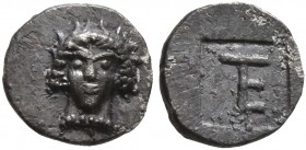 IONIA. Kolophon. Circa 450-410 BC. Tetartemorion (Silver, 6 mm, 0.25 g, 12 h), Persic standard. Facing laureate head of Apollo with short locks. Rev. ...