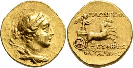 IONIA. Magnesia ad Maeandrum. Circa 130-120 BC. Stater (Gold, 18 mm, 8.47 g, 12 h), Euphemos, son of Pausanias. Draped bust of Artemis to right, weari...