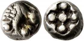 IONIA. Miletos. Circa 600-546 BC. Hemihekte – 1/12 Stater (Electrum, 7 mm, 1.14 g). Forepart of a lion to right. Rev. Stellate pattern within conformi...
