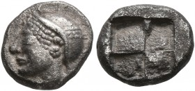 IONIA. Phokaia. Circa 521-478 BC. Diobol (Silver, 9 mm, 1.23 g). Head of a nymph to left, wearing sakkos adorned with a central band and circular earr...