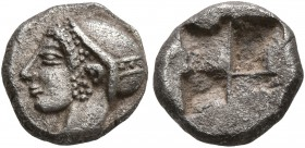 IONIA. Phokaia. Circa 521-478 BC. Diobol (Silver, 10 mm, 1.27 g). Head of a nymph to left, wearing sakkos adorned with a central band and circular ear...