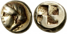 IONIA. Phokaia. Circa 478-387 BC. Hekte (Electrum, 10 mm, 2.56 g). Head of a female to left; below, seal to left. Rev. Quadripartite incuse square. Bo...