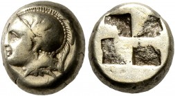 IONIA. Phokaia. Circa 478-387 BC. Hekte (Electrum, 10 mm, 2.55 g). Head of Athena to left, wearing crested Attic helmet decorated with a griffin on th...