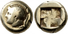 IONIA. Phokaia. Circa 478-387 BC. Hekte (Electrum, 10 mm, 2.51 g). Head of Athena to left, wearing crested Attic helmet decorated with a griffin on th...
