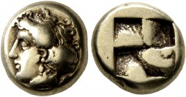 IONIA. Phokaia. Circa 478-387 BC. Hekte (Electrum, 10 mm, 2.53 g). Head of a nymph to left, her hair bound in sakkos; behind, small seal downward. Rev...