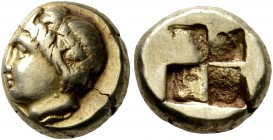 IONIA. Phokaia. Circa 387-326 BC. Hekte (Electrum, 10 mm, 2.53 g). Head of young Pan to left, wearing wreath of ivy and fruit; below, small seal to le...