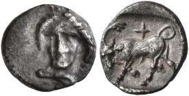 IONIA. Phygela. Circa 400-350 BC. Hemiobol (Silver, 8 mm, 0.39 g, 3 h). Head of Artemis Munychia facing slightly to left, wearing polos. Rev. Bull but...