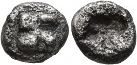 IONIA. Uncertain. Circa 625-600 BC. Diobol (Silver, 9 mm, 1.00 g). Raised swastika pattern. Rev. Rough incuse square. Naumann 62 (2018), 293. Corroded...