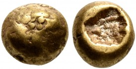 IONIA. Uncertain. Circa 625-600 BC. 1/24 Stater (Electrum, 5 mm, 0.66 g). Indistinct type with rosette-countermark atop. Rev. Rough incuse punch. SNG ...