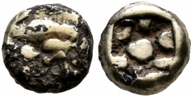 IONIA. Uncertain. Circa 625-600 BC. 1/24 Stater (Subaeratus, 6 mm, 0.43 g). Uncertain design. Rev. Rough incuse square. Breaks in plating, otherwise, ...