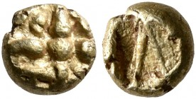 IONIA. Uncertain. Circa 625-600 BC. 1/48 Stater (Electrum, 5 mm, 0.33 g). Star of eight rays. Rev. Λ-shaped design within rough incuse punch. Rosen -....
