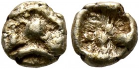 IONIA. Uncertain. Circa 625-600 BC. 1/48 Stater (Electrum, 5 mm, 0.29 g), Lydo-Milesian standard. Two globules within linear frame (schematic lion's h...