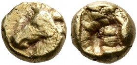 IONIA. Uncertain. Circa 600-550 BC. 1/48 Stater (Electrum, 5 mm, 0.29 g), Milesian standard. Head of a horse to left. Rev. Incuse square. SNG Kayhan 7...
