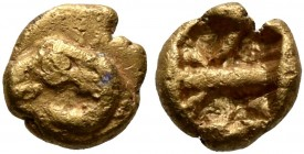 IONIA. Uncertain. Circa 600-550 BC. 1/48 Stater (Electrum, 5 mm, 0.27 g). Head of a ram to left. Rev. Rough incuse punch divided into two sections. Ro...
