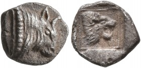ISLANDS OFF IONIA, Samos. Late 6th century BC. Trihemiobol (Silver, 9 mm, 0.77 g, 12 h). Head of a bull to right. Rev. Head of a roaring lion to right...
