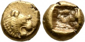 KINGS OF LYDIA. Alyattes to Kroisos, circa 610-546 BC. Hemihekte – 1/12 Stater (Electrum, 8 mm, 1.15 g), Sardes. Head of a lion with sun and rays on i...