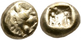 KINGS OF LYDIA. Alyattes, circa 610-560 BC. Hemihekte – 1/12 Stater (Electrum, 7 mm, 1.19 g), Sardes. Head of a lion with sun and rays on its forehead...