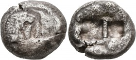 KINGS OF LYDIA. Kroisos, circa 560-546 BC. Double Siglos (Subaeratus, 17 mm, 9.05 g), a contemporary plated imitation, irregular mint. Confronted fore...