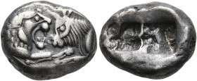 KINGS OF LYDIA. Kroisos, circa 560-546 BC. Siglos (Silver, 16 mm, 5.37 g), Sardes. Confronted foreparts of a lion and a bull. Rev. Two incuse squares,...