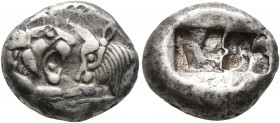 KINGS OF LYDIA. Kroisos, circa 560-546 BC. Siglos (Silver, 16 mm, 5.37 g). Confronted foreparts of a lion and a bull. Rev. Two incuse squares, one lar...