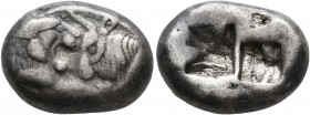 KINGS OF LYDIA. Kroisos, circa 560-546 BC. Siglos (Silver, 15 mm, 5.31 g), Sardes. Confronted foreparts of a lion and a bull. Rev. Two incuse squares,...