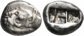 KINGS OF LYDIA. Kroisos, circa 560-546 BC. Siglos (Silver, 15 mm, 5.32 g), Sardes. Confronted foreparts of a lion and a bull. Rev. Two incuse squares,...
