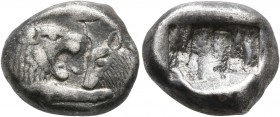 KINGS OF LYDIA. Kroisos, circa 560-546 BC. Siglos (Silver, 15 mm, 5.25 g), Sardes. Confronted foreparts of a lion and a bull. Rev. Two incuse squares,...