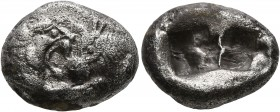 KINGS OF LYDIA. Kroisos, circa 560-546 BC. Siglos (Silver, 16 mm, 5.18 g), Sardes. Confronted foreparts of a lion and a bull. Rev. Two incuse squares,...