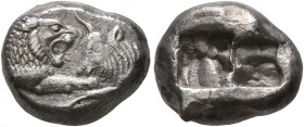 KINGS OF LYDIA. Kroisos, circa 560-546 BC. 1/3 Stater (Silver, 13 mm, 3.40 g), Sardes. Confronted foreparts of a lion and a bull. Rev. Two incuse squa...