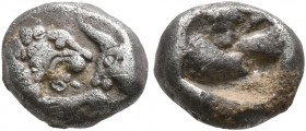 KINGS OF LYDIA. Kroisos, circa 560-546 BC. 1/12 Stater (Silver, 8 mm, 0.80 g), Sardes. Confronted foreparts of a lion and a bull. Rev. Rough incuse sq...
