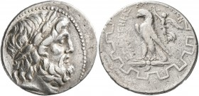 CARIA. Antioch ad Maeandrum. Circa 90/89-65/60 BC. Tetradrachm (Silver, 28 mm, 16.15 g, 1 h), Hermogenes. Laureate head of Zeus to right. Rev. EPMOΓEN...