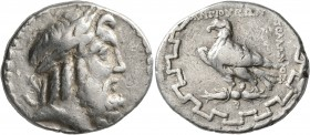 CARIA. Antioch ad Maeandrum. Circa 90/89-65/60 BC. Tetradrachm (Silver, 28 mm, 16.00 g, 1 h), Apollonios, magistrate. Laureate head of Zeus to right. ...