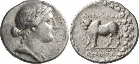 CARIA. Antioch ad Maeandrum. Circa 90/89-65/60 BC. Tetradrachm (Silver, 29 mm, 15.92 g, 12 h), Eunikos, magistrate. Laureate and draped bust of Apollo...