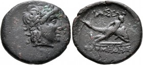 CARIA. Iasos. Circa 250-190 BC. AE (Bronze, 18 mm, 3.58 g, 12 h), ...omedes, magistrate. Laureate head of Artemis to right. Rev. IAΣEΩN / [...]OMHΔΗΣ ...