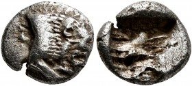 CARIA. Uncertain. 5th century BC. Diobol (Silver, 12 mm, 1.70 g). Forepart of a lion to right. Rev. Rough incuse square. CNG 90 (2012), 617. SNG Keckm...