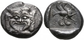 CARIA. Uncertain. 5th century BC. Drachm (Silver, 15 mm, 3.66 g, 4 h). Facing gorgoneion, surrounded by four wings in tilted clockwise rotation. Rev. ...
