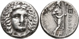 SATRAPS OF CARIA. Pixodaros, circa 341/0-336/5 BC. Didrachm (Silver, 19 mm, 6.78 g, 12 h), Halikarnassos. Laureate head of Apollo facing three-quarter...