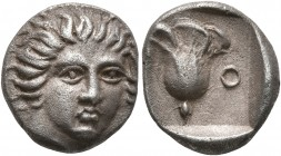 ISLANDS OFF CARIA, Rhodos. Rhodes. Circa 408/7-390 BC. Hemidrachm (Silver, 12 mm, 1.87 g, 12 h). Head of Helios facing slightly to right. Rev. [P]-O R...