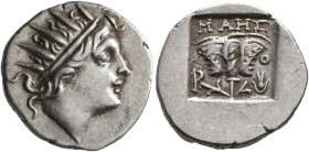 ISLANDS OFF CARIA, Rhodos. Rhodes. Circa 88-84 BC. Drachm (Silver, 15 mm, 2.42 g, 12 h), 'Plinthophoric' coinage. Maes, magistrate. Radiate head of He...