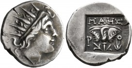 ISLANDS OFF CARIA, Rhodos. Rhodes. Circa 88-84 BC. Drachm (Silver, 15 mm, 2.41 g, 11 h), 'Plinthophoric' coinage. Maes, magistrate. Radiate head of He...