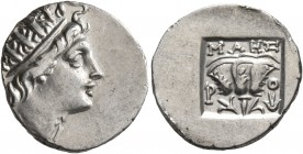 ISLANDS OFF CARIA, Rhodos. Rhodes. Circa 88-84 BC. Drachm (Silver, 16 mm, 2.00 g, 11 h). Radiate head of Helios to right. Rev. ΜΑΗΣ / P - O Rose with ...