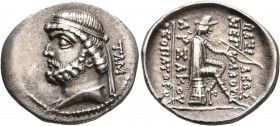 KINGS OF PARTHIA. Phraates II, 132-126 BC. Drachm (Silver, 20 mm, 3.92 g, 12 h), Tambrax, circa 128-127. Diademed and draped bust of Phraates II to le...