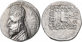 KINGS OF PARTHIA. Mithradates III, circa 87-79 BC. Drachm (Silver, 20 mm, 4.16 g, 11 h), Ekbatana. Diademed and draped bust of Mithradates III to left...