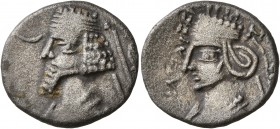 KINGS OF PARTHIA. Phraatakes, with Musa, circa 2 BC-AD 4. Drachm (Silver, 19 mm, 3.66 g, 12 h), Susa, circa 1-4. Diademed and draped bust of Phraatake...