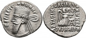 KINGS OF PARTHIA. Vonones I, circa 8-12. Drachm (Silver, 21 mm, 3.76 g, 12 h), Ekbatana. BACIΛЄYC ONⲰNHC Diademed and draped bust of Vonones I to left...