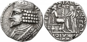 KINGS OF PARTHIA. Vardanes I, circa 38-46. Tetradrachm (Billon, 27 mm, 14.00 g, 1 h), Seleukeia on the Tigris, SE 356, Dystros = February, AD 45. Diad...