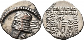 KINGS OF PARTHIA. Vologases I, circa 51-78. Drachm (Silver, 20 mm, 3.70 g, 12 h), Ekbatana. Diademed and draped bust of Vologases I to left. Rev. Arch...