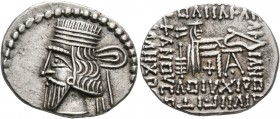 KINGS OF PARTHIA. Artabanos IV, circa 80-90. Drachm (Silver, 21 mm, 3.85 g, 12 h), Ekbatana. Diademed and draped bust of Artabanos IV to left. Rev. Ar...